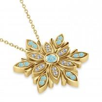 Diamond & Aquamarines Snowflake Necklace 14k Yellow Gold (0.29ct)