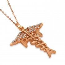 Diamond Medical PTA Symbol Pendant Necklace 14k Rose Gold (0.13ct)
