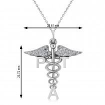 Diamond Medical PTA Symbol Pendant Necklace 14k White Gold (0.13ct)