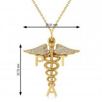 Diamond Medical PTA Symbol Pendant Necklace 14k Yellow Gold (0.13ct)