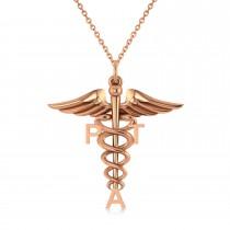 Medical PTA Symbol Pendant Necklace 14k Rose Gold