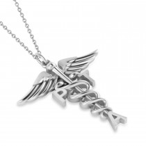 Medical PTA Symbol Pendant Necklace 14k White Gold