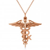 Medical RX Pharmacy Symbol Pendant Necklace 14k Rose Gold