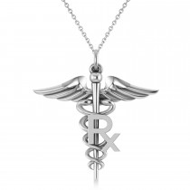 Medical RX Pharmacy Symbol Pendant Necklace 14k White Gold