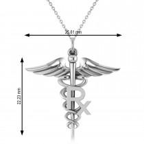 Medical RX Pharmacy Symbol Pendant Necklace 14k White Gold