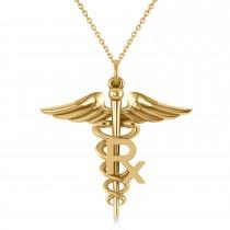 Medical RX Pharmacy Symbol Pendant Necklace 14k Yellow Gold