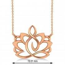 Yoga Lotus Flower Pendant Necklace 14k Rose Gold