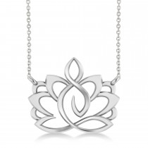 Yoga Lotus Flower Pendant Necklace 14k White Gold