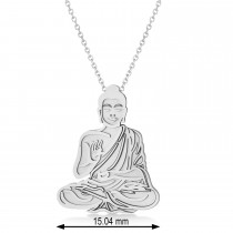 Buddha Spirituality Pendant Necklace 14k White Gold