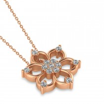 Diamond Six-Petal Flower Pendant Necklace 14k Rose Gold (0.26ct)