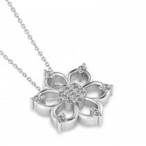 Diamond Six-Petal Flower Pendant Necklace 14k White Gold (0.26ct)