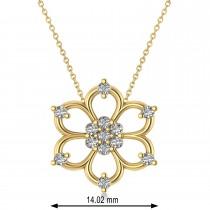 Diamond Six-Petal Flower Pendant Necklace 14k Yellow Gold (0.26ct)
