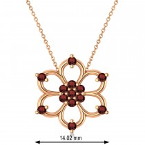 Garnet Six-Petal Flower Pendant Necklace 14k Rose Gold (0.26ct)
