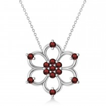 Garnet Six-Petal Flower Pendant Necklace 14k White Gold (0.26ct)