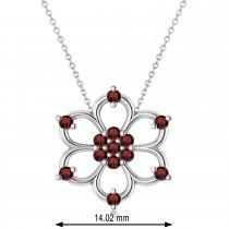 Garnet Six-Petal Flower Pendant Necklace 14k White Gold (0.26ct)