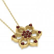 Garnet Six-Petal Flower Pendant Necklace 14k Yellow Gold (0.26ct)