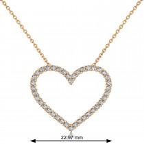 Diamond Open Heart Pendant Necklace 14k Rose Gold (0.60ct)
