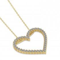 Diamond Open Heart Pendant Necklace 14k Yellow Gold (0.60ct)