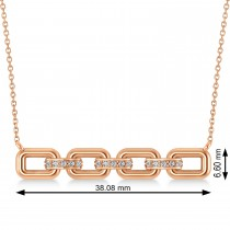 Diamond Chained Link Pendant Necklace 14k Rose Gold (0.15ct)
