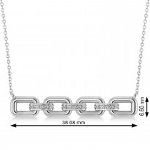 Diamond Chained Link Pendant Necklace 14k White Gold (0.15ct)