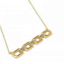 Diamond Chained Link Pendant Necklace 14k Yellow Gold (0.15ct)