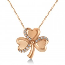 Diamond Three Leafed Clover Pendant Necklace 14k Rose Gold (0.15ct)