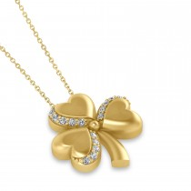 Diamond Three Leafed Clover Pendant Necklace 14k Yellow Gold (0.15ct)