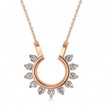 Diamond Open Circle Pendant Necklace 14k Rose Gold (0.77ct)