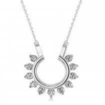 Diamond Open Circle Pendant Necklace 14k White Gold (0.77ct)
