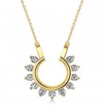 Diamond Open Circle Pendant Necklace 14k Yellow Gold (0.77ct)