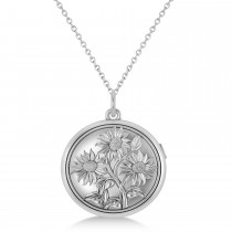 Sunflower Locket Pendant Necklace 14k White Gold
