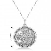 Sunflower Locket Pendant Necklace 14k White Gold