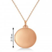 Round Engravable Locket Pendant Necklace 14k Rose Gold