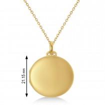 Round Engravable Locket Pendant Necklace 14k Yellow Gold