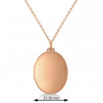Oval Engravable Locket Pendant Necklace 14k Rose Gold