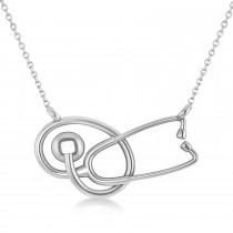 Stethoscope Pendant Necklace 14k White Gold