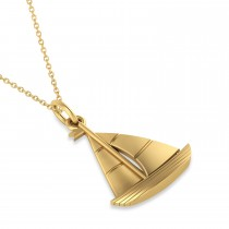 Sailboat Pendant Necklace 14k Yellow Gold