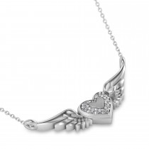 Diamond Heart & Angel Wings Pendant Necklace 14k White Gold (0.05ct)