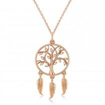 Tree of Life Dream Catcher Pendant Necklace 14k Rose Gold