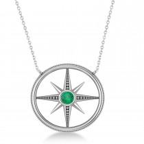 Emerald Compass Men's Pendant Necklace 14k White Gold (0.25ct)