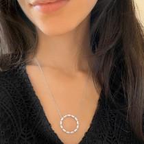 Diamond Baguette Formed Circle Pendant Necklace 14k White Gold (1.82ct)