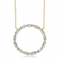 Moissanite Baguette Formed Circle Pendant Necklace 14k Yellow Gold (1.82ct)
