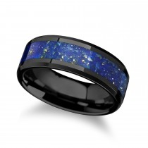 Marlow Ceramic Wedding Band w/ Blue Lapis Inlay & Beveled Edges (8MM)