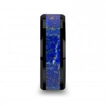 Marlow Ceramic Wedding Band w/ Blue Lapis Inlay & Beveled Edges (8MM)|escape