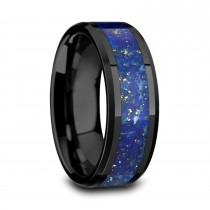 Marlow Ceramic Wedding Band w/ Blue Lapis Inlay & Beveled Edges (8MM)
