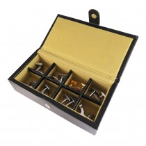 Eight Cufflinks Storage Box Black Leather