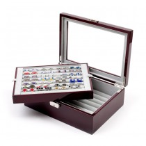 Seventy-two Pair Double Layer Cufflink Case Mahogany
