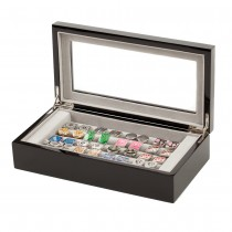 Twenty Cufflinks Storage Box Lacquered Wood Finish