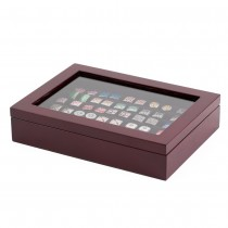 Thirty-six Cufflinks Storage Box Brown Lacquered Wood