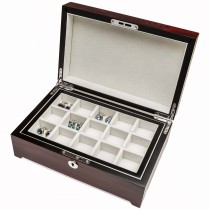 Thirty Pair Cufflinks Storage Box Mohagany Finish